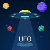 Abstrakter Raumhintergrund mit UFO-Raumschiff Lizenzfreie Stockfotografie