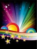 Abstrakter Regenbogen-Disco-Musik-Hintergrund Stockfotos