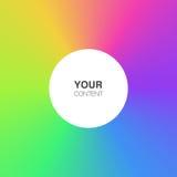 Abstrakter Regenbogen färbt Hintergrund mit weißer Kreistextbox Lizenzfreies Stockbild