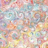 Abstrakter Regenbogen kurvte Streifenfarbliniekunst-Strudelmuster-Vektorhintergrund Stockfotos