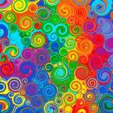 Abstrakter Regenbogen kurvte Streifenfarbliniekunst-Strudelmuster-Vektorhintergrund vektor abbildung