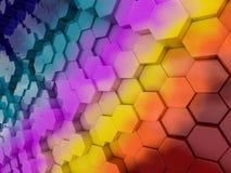 Abstrakter Regenbogenhintergrund des Hexagons 3d Lizenzfreie Stockbilder