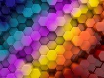 Abstrakter Regenbogenhintergrund des Hexagons 3d Stockbilder