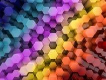 Abstrakter Regenbogenhintergrund des Hexagons 3d Lizenzfreies Stockfoto