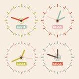Abstrakter Retro- Vektor-Uhr-Satz Stockfoto