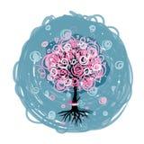 Abstrakter rosa Baum mit Wurzeln für Ihr Design Lizenzfreie Stockfotos