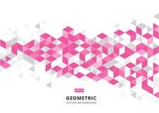Abstrakter rosa geometrischer Hintergrund mit polygonalen Dreiecken, Junges Lizenzfreie Stockfotografie