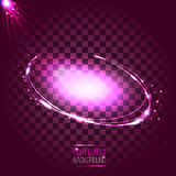 Abstrakter rosa ovaler Neonrahmen mit Sternen und Aufflackern Stockbilder