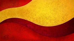 Abstrakter Rot- und Goldhintergrund mit gebogenen Formen mit copyspace Stockfotografie