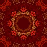 Abstrakter roter Blumenhintergrund mit rundem Vektormuster Stock Abbildung