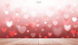 Abstrakter roter Herzhintergrund mit hölzerner Terrasse für Valentinsgrüße Stockfotografie