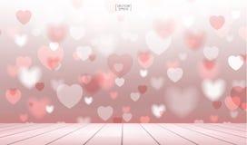 Abstrakter roter Herzhintergrund mit hölzerner Terrasse für Valentinsgrüße Lizenzfreies Stockbild