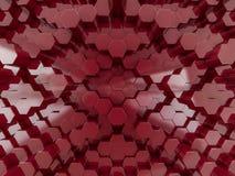 Abstrakter roter Hintergrund des Hexagons 3d Lizenzfreies Stockbild