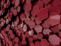 Abstrakter roter Hintergrund des Hexagons 3d Stockbilder