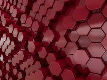 Abstrakter roter Hintergrund des Hexagons 3d Lizenzfreie Stockfotos
