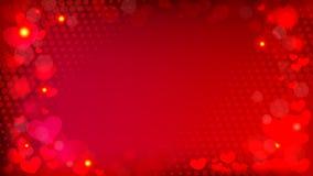Abstrakter roter Hintergrund mit bokeh Effektherzen und Halbton VE Lizenzfreies Stockbild