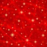 Abstrakter roter Hintergrund mit funkelnden funkelnden Sternen Kosmische glänzende Galaxie (Atmosphäre) Leere Beschaffenheit des  Stockfotos