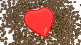 Abstrakter roter Schokoladenherz bokeh Hintergrund für Valentinstag 3d übertragen Abbildung 3D stockfotos
