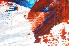 Abstrakter roter und blauer handgemalter Acrylhintergrund Stockfotografie