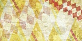 Abstrakter roter und gelber Schmutzbeschaffenheitshintergrund mit Diamantkontrolleurdesign Stockfoto