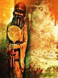 Abstrakter Schmutz-chinesischer Mönch Statue Background Texture lizenzfreie stockbilder