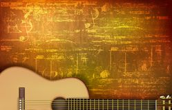 Abstrakter Schmutzhintergrund mit Akustikgitarre Stockfotografie