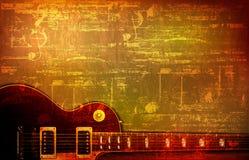 Abstrakter Schmutzhintergrund mit Akustikgitarre Lizenzfreie Stockfotografie