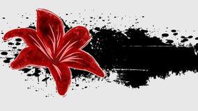 Abstrakter Schmutzhintergrund mit roter Blume. Stockfotografie