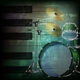 Abstrakter Schmutzhintergrund mit Trommelausrüstung Stockfotos
