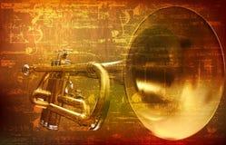 Abstrakter Schmutzhintergrund mit Trompete Stockfotos