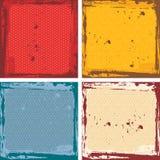 Abstrakter Schmutzrahmensatz rote orange blaue beige Hintergrundschablone Vektor Stockbilder