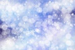 Abstrakter Schneeflockenhintergrund des Winters im Blau stockfoto