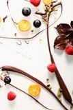 Abstrakter Schokoladenstrudelhintergrund stockfoto