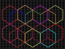 Abstrakter schwarzer Hintergrund mit mehrfarbigem hexago Stockfotos