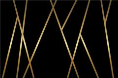 Abstrakter schwarzer Vektorhintergrund mit glänzenden metallischen goldenen Mosaiklinien stock abbildung