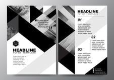 Abstrakter schwarzer weißer Dreieckhintergrund für minimale Plakat-Broschüren-FliegerEntwurf-Vektorschablone in der Größe A4 Stockfoto
