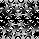 Abstrakter Schwarzweiss-Achteck-Spiralen-Vektor-nahtloses Muster Stockfoto
