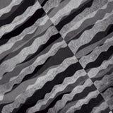 Abstrakter Schwarzweiss-Hintergrund mit überlagerten Wellen des strukturierten materiellen Designs Stockbilder