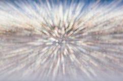 Abstrakter silberner bokeh Hintergrund in der Bewegung stockbild