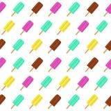 Abstrakter Sommer-nahtloser Muster-Hintergrund mit Eiscreme Auch im corel abgehobenen Betrag Lizenzfreie Stockbilder