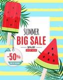 Abstrakter Sommerschlussverkauf-Hintergrund mit Wassermelonen-Eiscreme Ende der Jahreszeit Auch im corel abgehobenen Betrag Lizenzfreie Stockfotos