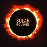 Abstrakter Sonnenfinsternishintergrund des Vektors mit Sonnenfinsterniswörtern Lizenzfreies Stockbild
