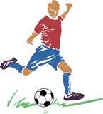 Abstrakter Spieler des Fußballs (Fußball) mit einer Kugel Lizenzfreies Stockbild