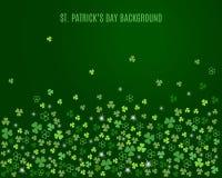 Abstrakter St- Patrick` s Tageshintergrund mit Funkelnkleeshamrock verlässt Vektor Stock Abbildung