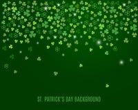 Abstrakter St- Patrick` s Tageshintergrund mit Funkelnkleeshamrock verlässt Vektor Lizenzfreie Abbildung