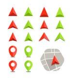 Abstrakter Stadtplan mit Symbolsammlung Lizenzfreies Stockfoto