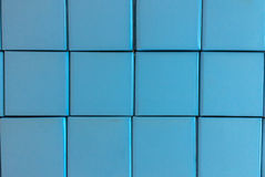 Abstrakter Stapel von blauer Tone Recycle Paper Box benutzt als Hintergrund-Beschaffenheit Lizenzfreie Stockfotos
