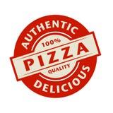 Abstrakter Stempel oder Aufkleber mit dem Text authentisch, köstliche Pizza lizenzfreie abbildung