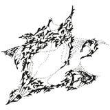 Abstrakter stilisiert B&W gähnender Spatz Lizenzfreie Stockbilder