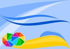 Abstrakter Strand mit Regenschirmen Stockbild